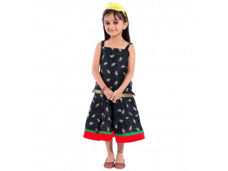 Archiecs Creations Beautiful Leafy Printed Lehanga Choli Set For Girls