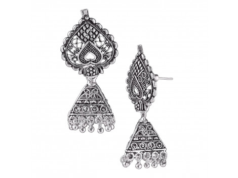 Archiecs Creations Oxidised White Metal Silver Jhumki Earring for Women