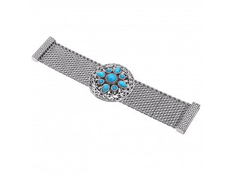 Archiecs Creations Oxidised White Metal Blue Artificial Stone Stud Bracelet for Women