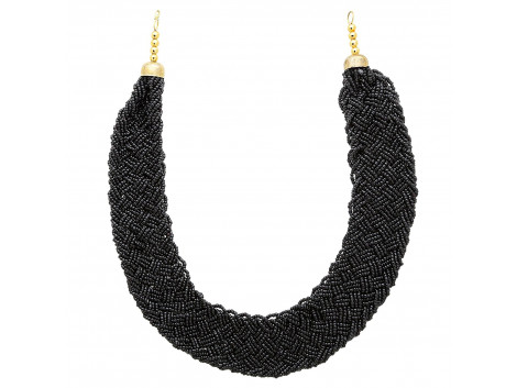 Archiecs Creations Alloy Black Beads Strand Necklace for Women