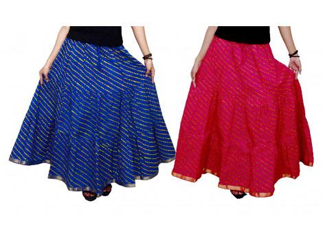 Archiecs Creations Women's Cotton Regular Fit Leheriya Printed Long Skirts Combo (Set of 2)