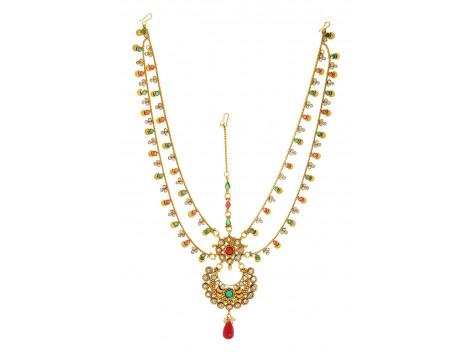 SPE Indian Ethnics Golden Maang Tikka for Women (FHL-01)