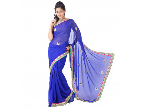 Archiecs Creations Alluring Jaipuri Gota Patti Chiffon Saree (With Blouse Piece) - Blue