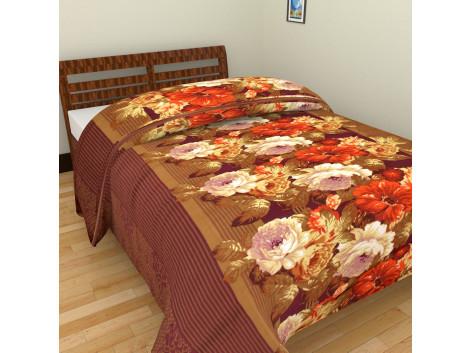 Krishna polycotton Green Flower Single AC Blanket