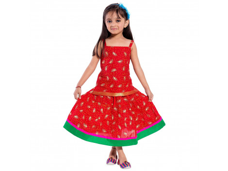 Archiecs Creations Beautiful Leafy Printed Lehanga Choli Set For Girls