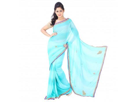 Archiecs Creations Beautiful Jaipuri Nakashi Work Georgette Saree (With Blouse Piece) - Light Blue