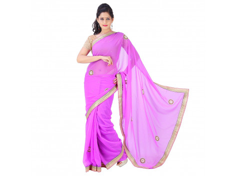 Archiecs Creations Adorning Jaipuri Moti Work Chiffon Saree (With Blouse Piece) - Mauve