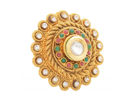 SPE Indian Ethnics Copper Ring for Women - Free Size (R-01)