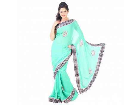Archiecs Creations Charming Jaipuri Moti Work Pure Viscose-Georgette Saree (With Blouse Piece) - Turquoise