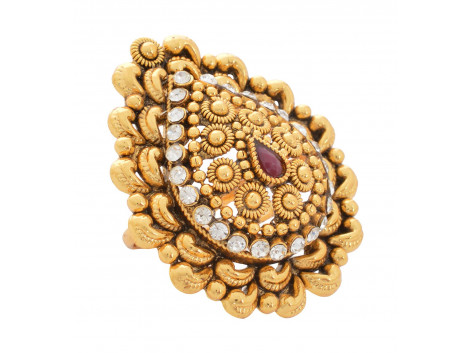 SPE Indian Ethnics Golden Ring for Women - Free Size (R-07)