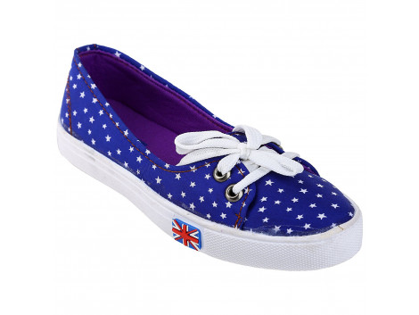 Kassler Women Star Printed Slip-On Style Blue Canvas Shoes