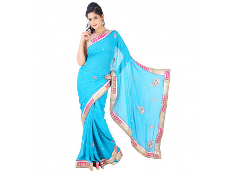 Archiecs Creations Stunning Jaipuri Nakashi-Moti Work Pure Viscose-Georgette Saree (With Blouse Piece - Sky Blue