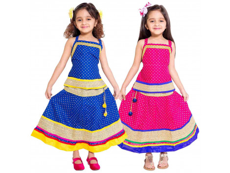 Archiecs Creations Girl's Multicolored Cotton Lehenga Choli Combo Set (Set of 2)