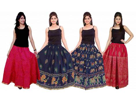 Archiecs Creations Self Design Women's Ethnic Cotton Long Skirts Combo (Set of 4)