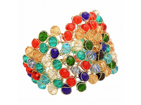 Archiecs Creations Glass Crystal Studded Multicolor Alloy Bracelet for Women