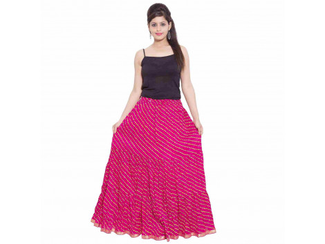 Archiecs Creation Self Design Women's Regular Jaipuri Laheria Pink Skirt with Full Ghera (Free Size-SKT503)