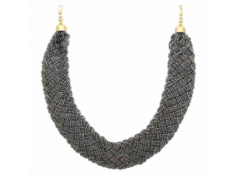 Archiecs Creations Alloy Grey Beads Strand Necklace for Women