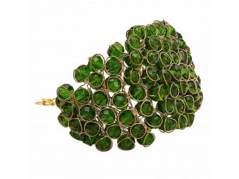 Archiecs Creations Glass Crystal Studded Dark Green Alloy Bracelet for Women