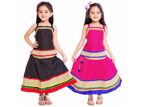 Archiecs Creations Girl's Multicolored Cotton Lehenga Choli Combo Set (Set of 2)