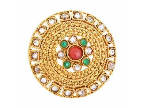 SPE Indian Ethnics Golden Ring for Women - Free Size (R-22)