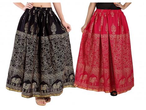 Archiecs Creations Self Design Women's Regular Cotton Skirts Combo (Set of 2)