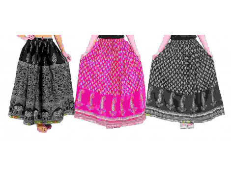 Archiecs Creations Self Design Women's Regular Cotton Skirts Combo (Set of 3)