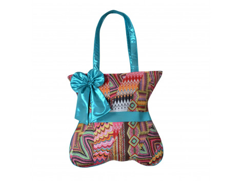 Angelfish Stylish Flower Bow multi coloured shoulder bag