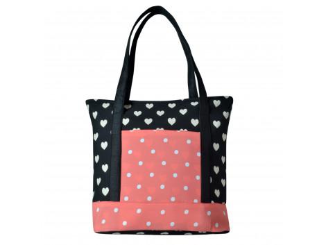 Angelfish Black & Pink Designer Shoulder Fabric Tote Bag for women