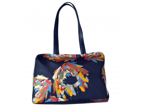 Angelfish Black & Multi Colour printed Designer Shoulder Tote Fabric Bag for women