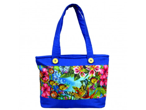 angelfish printed shining blue handbag