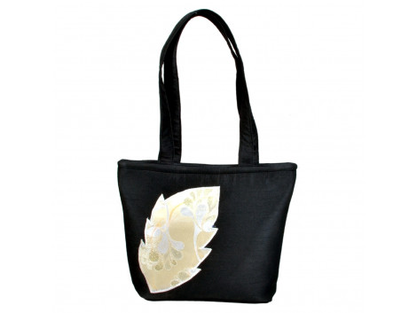 angelfish black dupeon leaf handbag