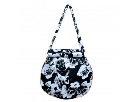 angelfish shoulder bag round moss crepe black white