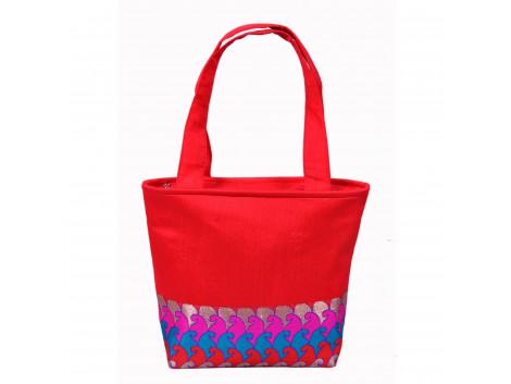 Angelfish Red Borcade or silk Fabric Handbag