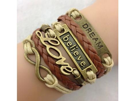 Angelfish Classic Bronze Love Leather Alloy Wrap Bracelet
