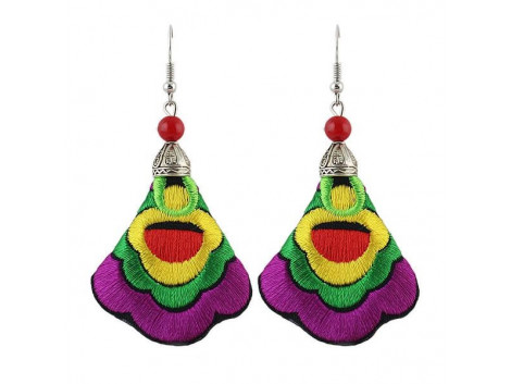 Angelfish handmade colorful embroidery long drop earrings
