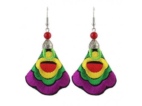 Angelfish handmade colorful embroidery long drop earrings