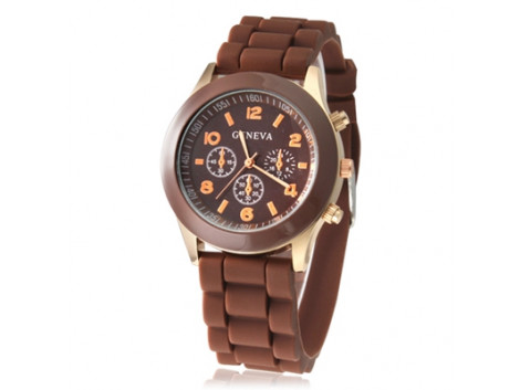 Women's or Girl's Watch Fashion Silicone Strap Candy Color Length 25Cm Brown