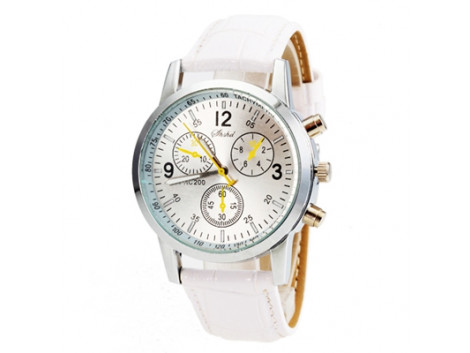 Men's & Women'S Watch Circle Cool Movement Length 25.5Cm Alloy With PU Strap Watch White