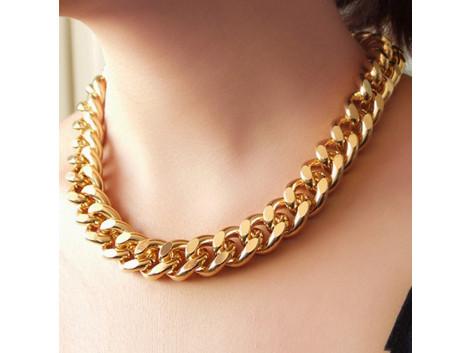 Shiny Light Golden Chunky Aluminium Curb Chain Necklace