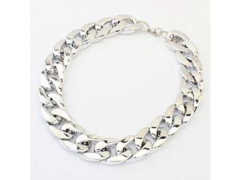Shiny Light  Silver Chunky Aluminium Curb Chain Necklace