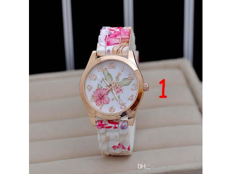 Geneva wrist watch jelly candy rose for women