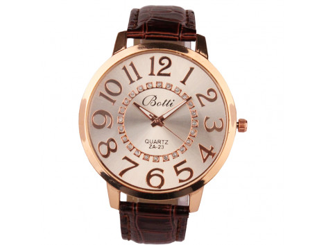 women fashion quartz wristwatch numerals golden dial brown leather strap