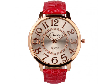 women fashion quartz wristwatch numerals golden dial red, pink leather strap