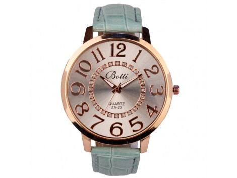 women fashion quartz wristwatch numerals golden dial sea turquoish leather strap