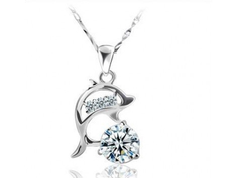 crystal rhinestone alloy white gold sterling silver pendant necklace