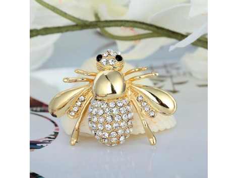 Angelfish Fashion style bee rhinestone alloy brooche pin gold plated