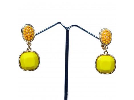 Angelfish fashion designer rhinestone yellow clip earrings