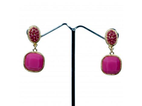 fashion designer rhinestone pink clip earrings