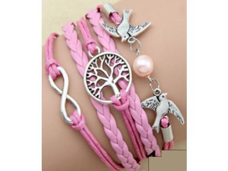 Imitated Leather Pearl Knitting Bronze Charm Bracelet Vintage Jewelry