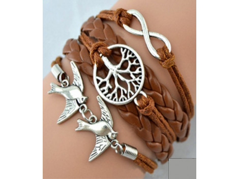Imitated Leather Pearl Knitting Bronze Charm Bracelet Vintage Jewelry